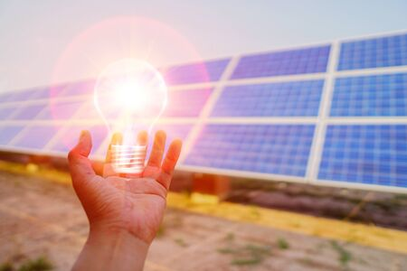 Solar panel, alternative electricity source, concept of sustainable resources, This is clean power in the world. Stock Photo