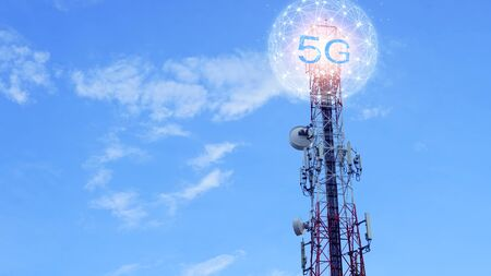 Concept of future technology 5G network wireless network that will control everything through electronic devices or have a short name called Internet of Things or IOT.
