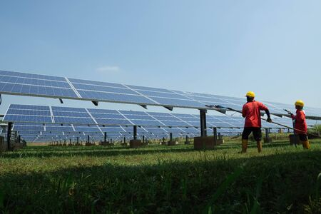 Solar panel, alternative electricity source - concept of sustainable resources, This's the sun tracking systems, Cleaning will increase performance to high. Stock Photo