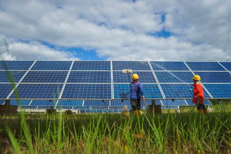 The view of the solar farm(solar panel), alternative electricity source, cleaning will increase performance to high, Photovoltaic module idea for clean energy production to protect the environment.