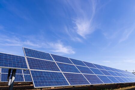 The view of the solar farm(solar panel), alternative electricity source, this's the sun tracking systems, Photovoltaic module idea for clean energy production to protect the environment.