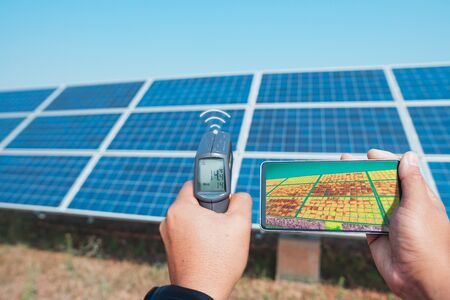 Thermoscan(thermal image camera), Scan to the solar panel for temp check and show video real-time send to the telephone by wifi or 5G systems or 6G systems in the future.