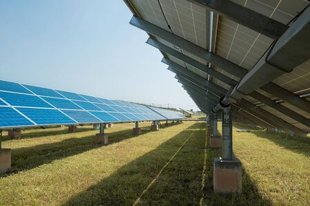 Solar panel(solar cell) with the orange grass, hot climate causes increased power production, Alternative energy to conserve the world's energy, Photovoltaic module idea for clean energy production. 版權商用圖片 - 148162065