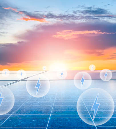 The electric power symbol icon floats up from the solar panel. hot climate causes increased power production, the Concept of alternative energy to conserve and increase the world's energy.