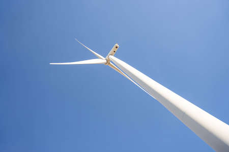 Wind turbines are alternative electricity sources, the concept of sustainable resources, Beautiful sky with wind generators turbines, Renewable energy.