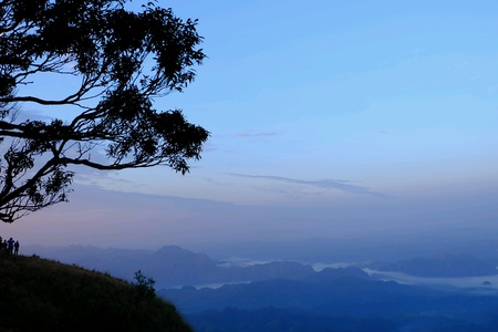 view: Foggy view in the morning from mountain top in Thailand Stock Photo