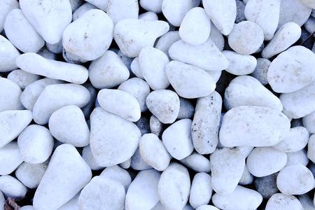 white rock: small naturally polished white rock, decorative white rock Stock Photo