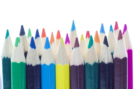handcarves: Color pencils isolated in white background.