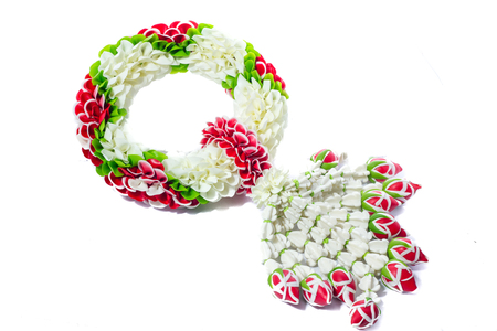 Maalai The flower in Thai traditional jasmine garland. Stock Photo
