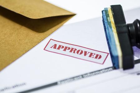 승인 승인 된 응용 프로그램에서 인쇄 스탬프입니다. 스톡 콘텐츠