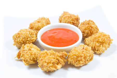 crispy: Fried chicken nuggets and sweet chili sauce