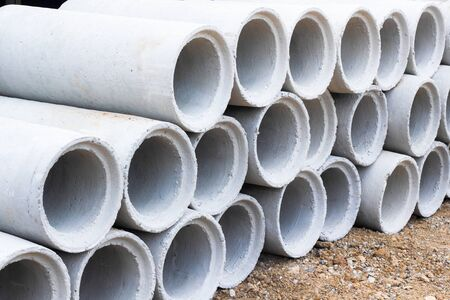 Concrete pipes used for drainage and road side in a big city.