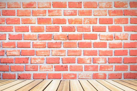Perspective white wood  deck overlook the brick wall background . Services include product display  template Stock Photo