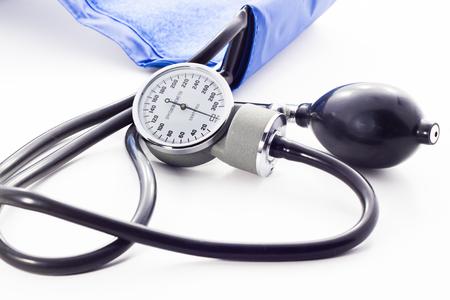 Blood pressure meter medical equipment isolated on white  bavkground