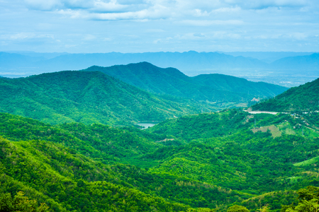 Top view of the mountain range. Simultaneously tree The lush green forests Looking at it makes me feel fresh. Stock Photo
