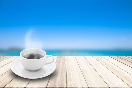 include: Coffee cup  is placed on Perspective wood deck overlook the blur blue sky and sea summer . Services include product display  template.
