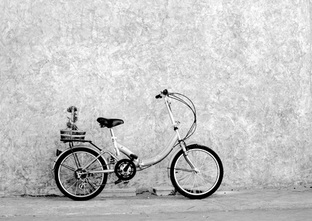 sidewall: black and white Bicycles old vintage flowers in a basket. Parked on the sidewall of the concrete house ideal for design work Classic hoodie style