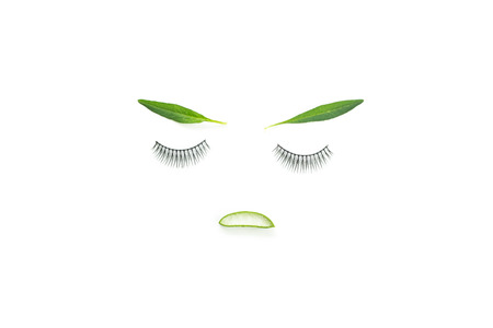 Face of the girl With false eyelashes, leaves, flowers and aloe vera. isolate on white background. Conveys the idea of makeup that emphasizes natural. Or use cosmetics containing natural extracts.