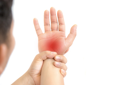 Pain in the palm of the elderly.Symptoms of peripheral neuropathy. Most symptoms are pain and numbness in the fingertips and palms.