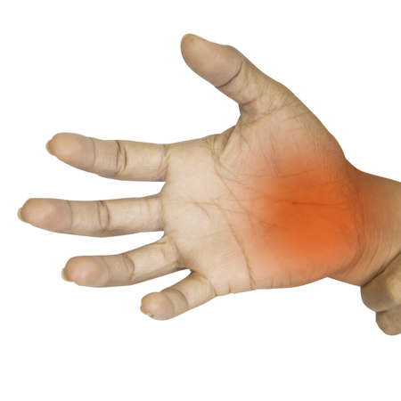 Pain in the palm of the elderly.Symptoms of peripheral neuropathy. Most symptoms are pain and numbness in the fingertips and palms isolated on a white background with clipping path. Stock Photo