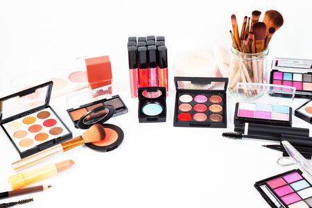Decorative Cosmetics Makeup girls for beauty placed on white background.Business concept and includes articles about beauty.