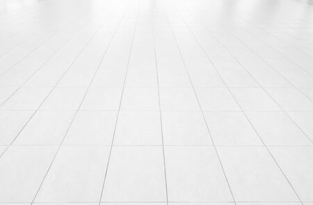 Perspective tiles floor deck overlook the white background. Services include product display template Stock Photo
