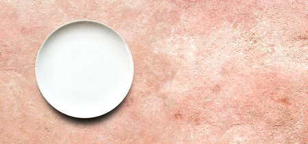 white empty plate on old cement texture background . Loft style design wall texture ideas living home.Top view with copy space. 免版税图像