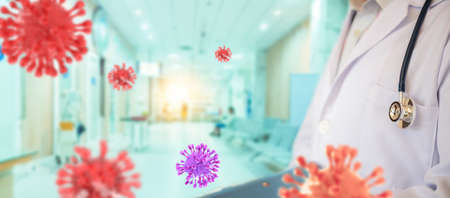 doctor put on a surgical mask holding a reagent tube used as an anti-coronavirus. Blurred images of the corona virus that is spreading around the world.