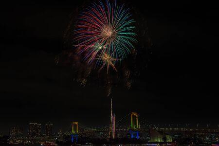 fireworks on white background: Evening View of Tokyo Skyline, Rainbow Bridge, and Tokyo Tower