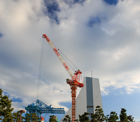 site: Construction site with cranes on sky background Stock Photo