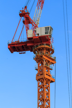 fat: Construction site with cranes on sky background Stock Photo