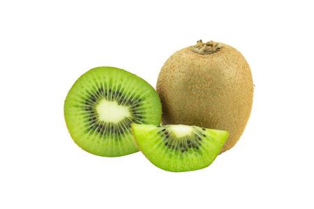kiwi: Whole kiwi fruit and his sliced segments isolated on white background Stock Photo