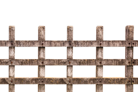 Wooden fence at ranch isolated over white background