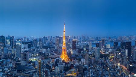 mori: TOKYO,JAPAN - april 24 : Tokyos Landscape with Tokyo Tower on april 24  2016 at Mori Tower. Editorial
