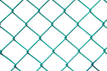 chained link fence: Rough steel fence isolated on white background Stock Photo