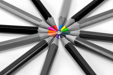 Colorful pencils isolated on background white, Shallow depth of field