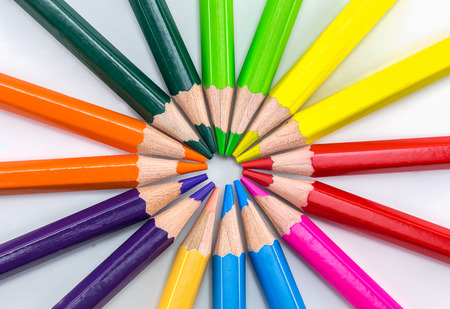 Colorful pencils isolated on background white
