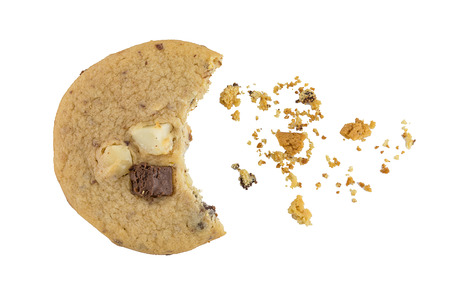 brocken: chocolate chip cookie isolated on white background Stock Photo