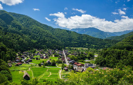 Traditional and Historical Japanese village Shirakawago in spring