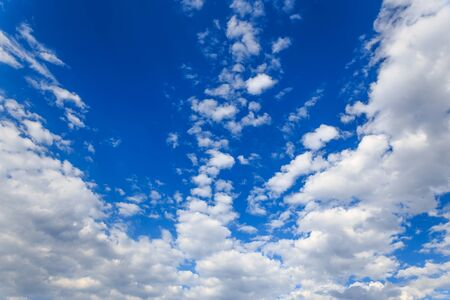 Beautiful Blue Sky Background Template With Some Space for Input Text Message Below Isolated on Blue Stock Photo