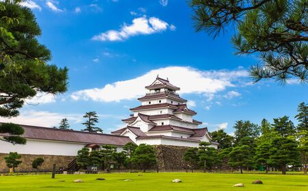 wind mills: Tsuruga Castle in Fukushima, Japan