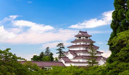 Castello di Tsuruga a Fukushima, Giappone Archivio Fotografico - 71804172