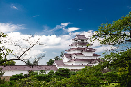 Castello di Tsuruga a Fukushima, Giappone Archivio Fotografico - 71802835