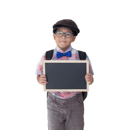 little boy holding a blackboard in isolated white background and image have in  selection path.