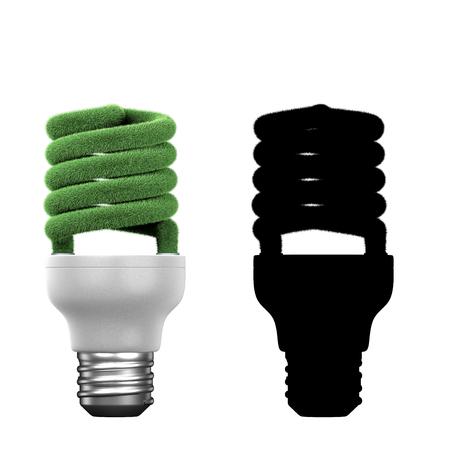 Conceptual energy saving lamp - glass spiral tube background mask Standard-Bild
