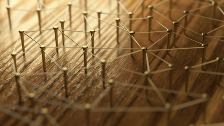 Networking, networking, connect, wire. Linking entities. Network of gold wires on rustic wood. 3D Rendering