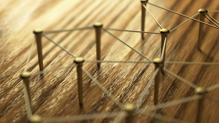 entities: Networking, networking, connect, wire. Linking entities. Network of gold wires on rustic wood. 3D Rendering