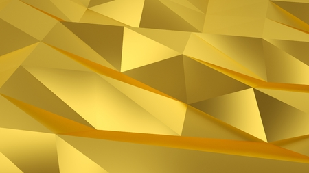 Triangle polygon shapes background. 3D deco geometric gold. 3D rendering.