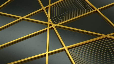 Golden geometric shapes on black background. 3D deco geometric gold. 3D rendering. Banco de Imagens