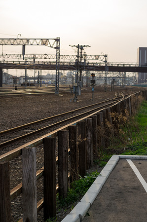 pulled over: Landscape along the railroad tracks Stock Photo